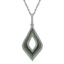 """Sterling Silver, Clear, Chocolate & Yellow CZ Pendant Necklace, 17.5"""" Chain - $76.39"""