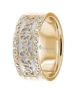 Diamond Trinity Knot Celtic Wedding Ring, 14K Solid Gold, 8mm Wide, Comf... - $1,036.63