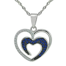"""Sterling Silver, Clear & Dark Blue CZ Heart Pendant, 17.5"""" Extension Chain - $45.53"""