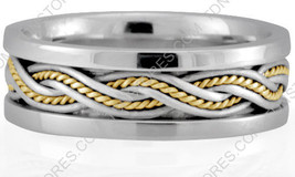 10K GOLD HANDMADE WEDDING BAND WOMENS BRAIDED WEDDING RING MENS BRAIDED ... - $406.73