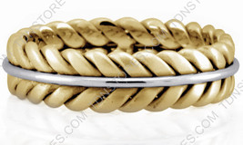 14K GOLD BRAIDED WEDDING RING TWO TONE WEDDING BANDS YELLOW AND WHITE GOLD - $406.73