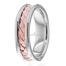 6MM 14K WHITE GOLD ROSE GOLD WEDDING BAND WOMENS BRAIDED WEDDING RING MENS - $466.57