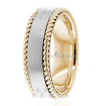14K Gold 7mm Handmade Wedding Band, Ring Size 4-13 Made USA - $558.09