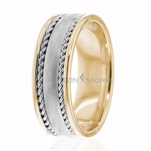 14K Gold, 7.50mm Handmade Wedding Band, Ring Size 4-13 Made USA - $599.26