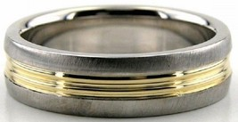 10K Solid Gold 6mm Brush Two Tone Wedding Bands, Ring Size 4-13 Made in ... - $279.57