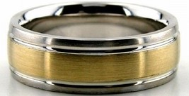 10K Solid Gold 7mm Satin Two Tone Wedding Bands, Ring Size 4-13 Made in ... - $322.58