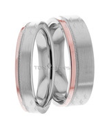 14K WHITE GOLD ROSE GOLD MATCHING HIS & HERS WEDDING BANDS RING SET TWO ... - $807.88