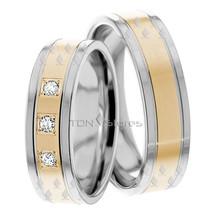 MATCHING TWO TONE DIAMOND WEDDING BANDS RING SET HIS & HERS WEDDING RING... - $872.67