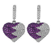 Sterling Silver, Rhodium Plated, White & Purple CZ Heart Shaped Stud Ear... - $92.55