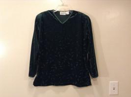 Shenanigans Women's Size S Pullover Shirt Top Dark Emerald Green Burnout Velvet