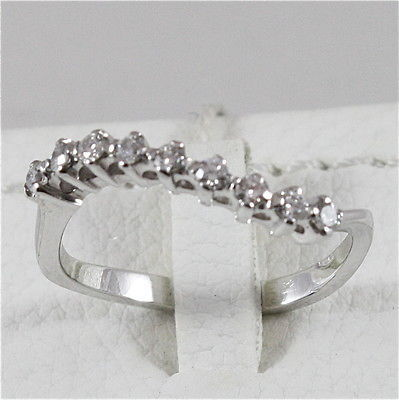 18K WHITE GOLD ETERNITY BAND RING WITH DIAMONDS, ONDULATE, MADE IN ITALY