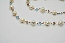 925 Sterling Silver Necklace Gold Foiled Pink & Pearls Quartz & Aquamarine image 9