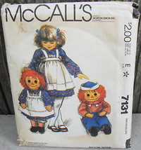 """McCall's 7131 Bobbs-Merrill 36"""" Raggedy Andy and Raggedy Ann + Child's Apron - $20.00"""