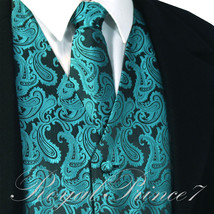 Mermaid Teal Green XS to 6XL Paisley Tuxedo Suit Dress Vest Waistcoat & ... - $22.75+