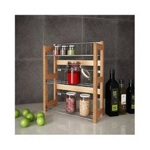 Bamboo Spice Jar Rack With Metal Shelves Kitchen Organize Counter Top Cu... - $34.21