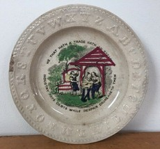 Antique 1800s 19th C Staffordshire Childs Plate ABC Rim Ben Franklin Debt Quote - $239.99