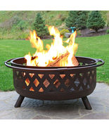 "36"" Fire Pit Steel with Bronze Finish Crossweave with Spark Screen - $365.00"