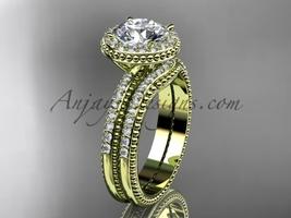 Engagement rings Moissanite center stone 14kt yellow diamond wedding set ADER95S - €2.112,61 EUR