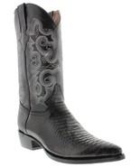 Mens Black Cowboy Boots Leather Snake Pattern Western J Toe Bota - $99.99