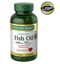 Nature's Bounty Fish Oil 1400 mg. No After test 130 Coated Softgels Fast Ship - $17.04