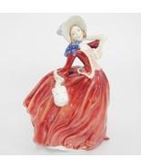 Fabulous Royal Doulton Autumn Breezes COPR 1939 Woman Red Dress Muff 7.7... - $65.83