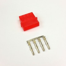 PK OF 5 - MALE 4 PIN MOLEX PC PSU POWER SUPPLY CONNECTOR - RED INC PINS - $5.04