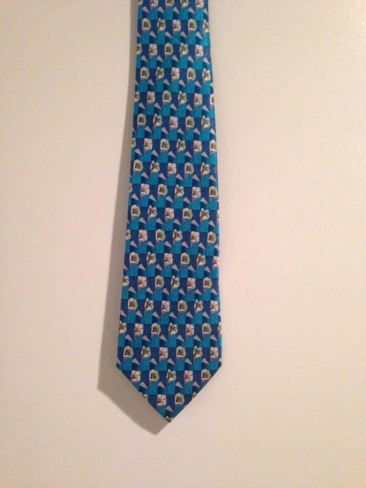 Geoffrey Beene Aqua Blue White Floral Motif Neck Tie Silk