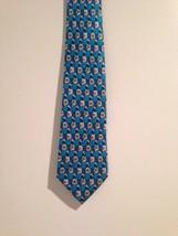 Geoffrey Beene Aqua Blue White Floral Motif Neck Tie Silk - $4.70