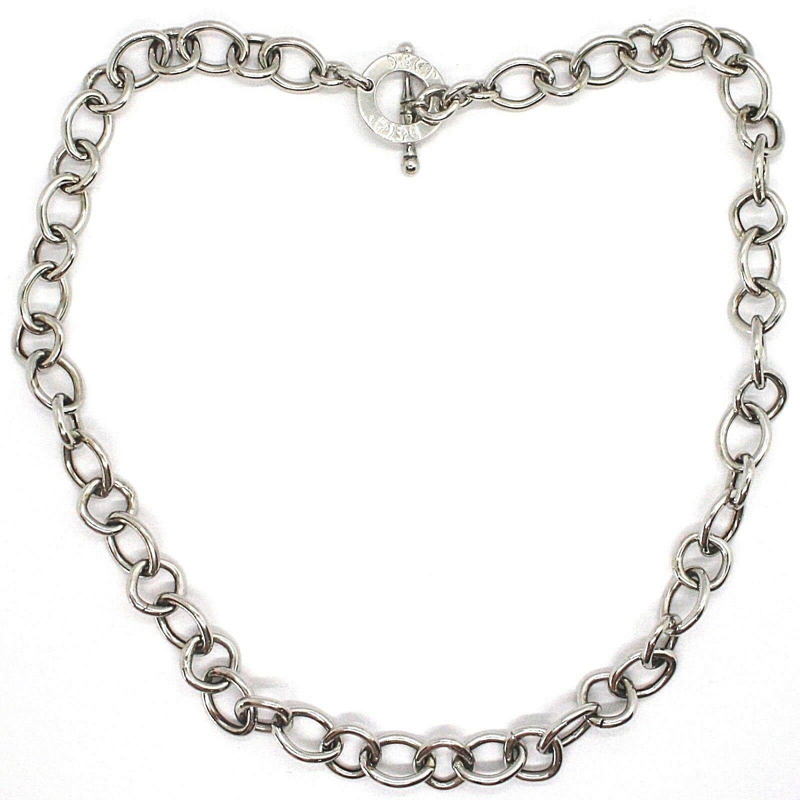 Silver 925 Necklace Chain, Oval Square, Designation, Long 48 cm, Fastening T