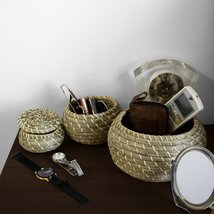 Round Seagrass Lidded Storage Bin (Set 3)| Home Pantry Decoration & Orga... - £22.40 GBP+