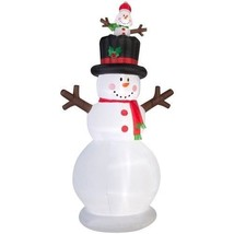 Christmas Inflatables Snowman With Pop Up Baby Snowman Airblown Yard Dec... - $133.48
