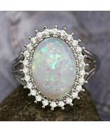 opal & sapphire dinner ring, size 8 - $49.99