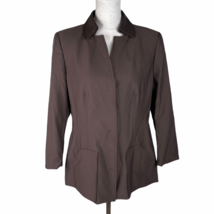 Worth Softshell Coat Jacket Size 12 Brown Nylon Blend Snap Front Collared - $37.39