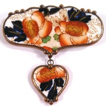 Unusual Vintage John Maddock and Sons Porcelain Brooch Pin Two Piece wit... - $56.95