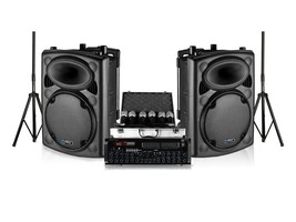"Technical Pro Dual 12"" Stage Speaker Amplifier 6 Microphone DJ 2000w Pac... - $326.69"
