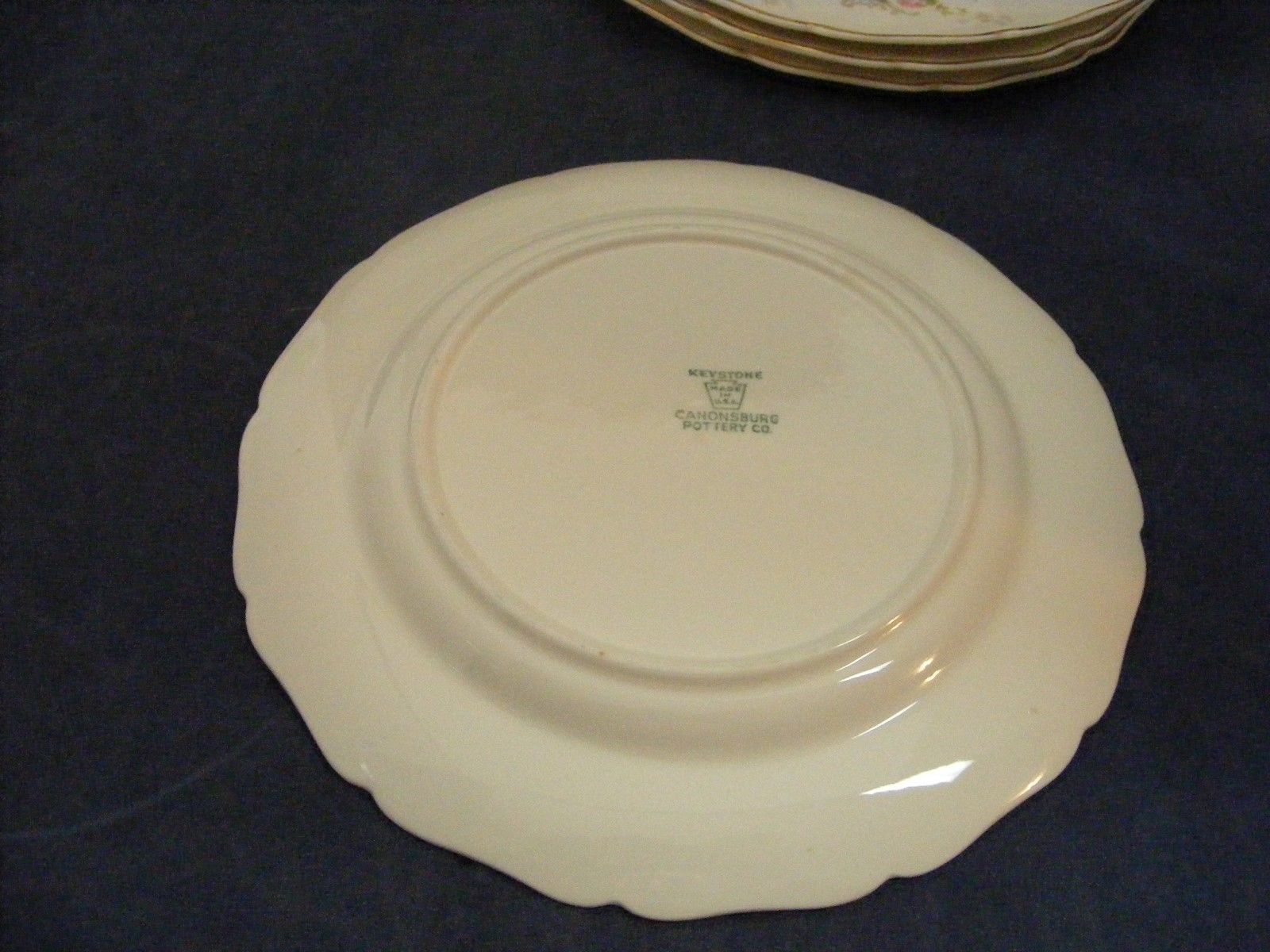 "6 Canonsburg Pottery Keystone Pink Roses Gold Trim 8"" Salad Plates"