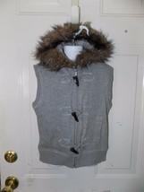 Mudd Gray Vest Hoodie Sweat Jacket Fur lined Hood Size M (10/12) Girl's EUC - $19.50