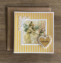 Fairy floral card, Yellow handmade card, Unique Greeting card, Scrapbooking - $8.00