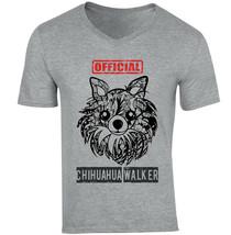Chihuahua long coat - official walker - NEW COTTON GREY V-NECK TSHIRT - $20.70