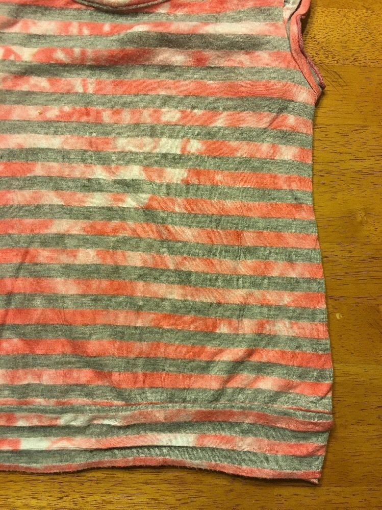 Miss Understood Girl's Pink & Gray Striped Cap Sleeve Shirt Size Small 2 Layer image 5