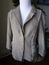 St John Collection beige herringbone tweed jacket made in USA sz12 S Small as is - $23.74