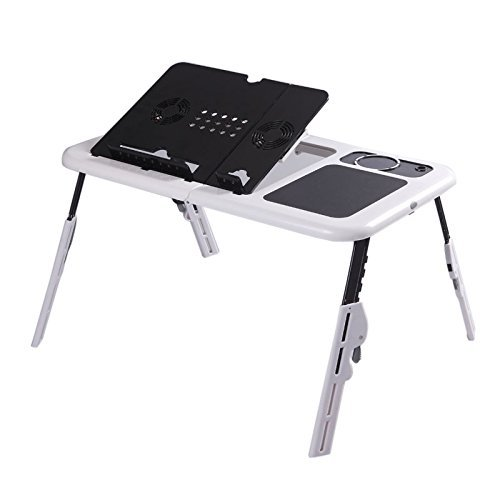 Folding Laptop Desk Adjustable USB Notebook PC Table Stand Workstation Flexible
