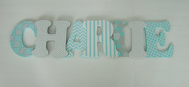 Wood Letters-Nursery Decor-Turquoise & Grey, or Pink/Grey, or Lavender/G... - $12.50