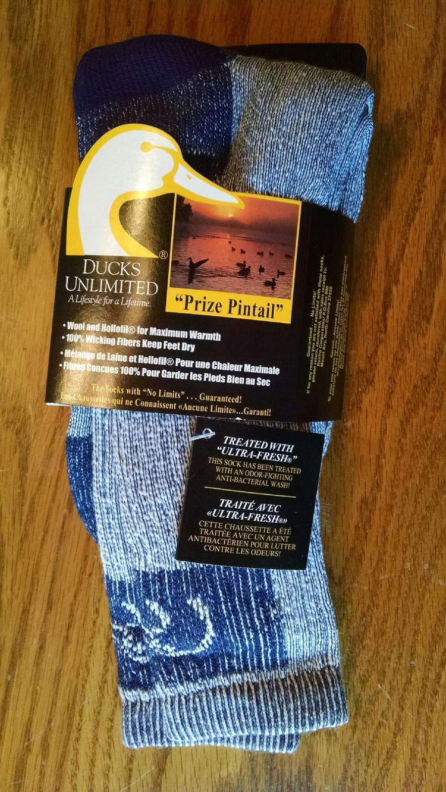 Two Pairs of Ducks Unlimited Prize Pintail Socks Light Blue Shoe Size 6 - 12