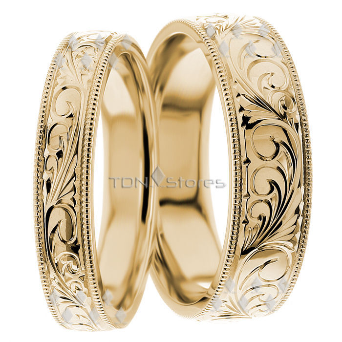 14K GOLD VINTAGE MATCHING HIS & HERS WEDDING BANDS RING VINTAGE MENS WOMENS RING