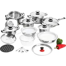 28pc 12-Element Heavy-Gauge Stainless Steel Cookware Set Induction Cookt... - $144.89