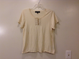 "Kasper Women's Plus Size 1X ""T-Shirt"" T Shirt Tee Top Ivory Henley Neck Crochet"