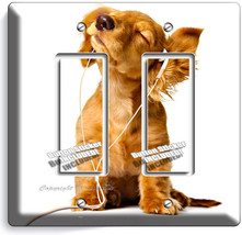 Cute Puppy Headphones Music Dog Double Gfci Light Switch Wall Plate Room Decor - $10.79