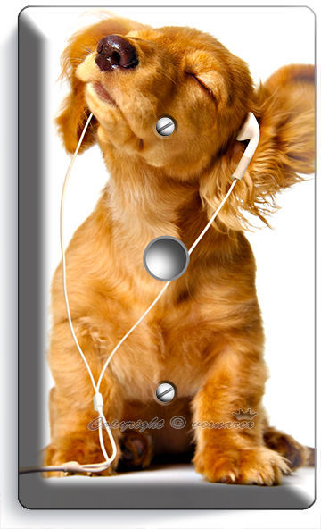 cute puppy w headphones music dog light dimmer cable cover wall plate room decor switch plates. Black Bedroom Furniture Sets. Home Design Ideas