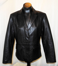 MixIt Black Leather Blazer Hidden Two-Button Fr... - $26.55